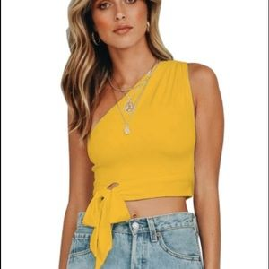 One Shoulder Yellow Tank Bowknot Crop Top